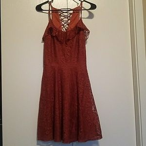 City Triangles Rust Lace Dress
